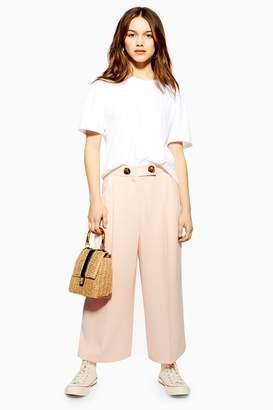 Topshop Womens Petite Crop Wide Leg Trousers - Black