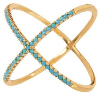 Sterling Forever 14K Gold Vermeil Simulated Turquoise Crisscross Ring