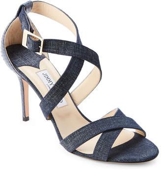 Jimmy Choo Denim Blue Louise Crisscross High Heel Sandals