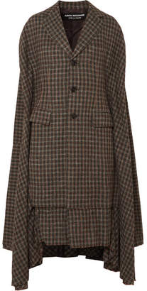 Junya Watanabe Cape-effect Pleated Checked Twill Coat - Anthracite