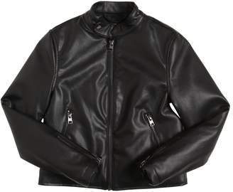 John Richmond Logo Embossed Faux Leather Moto Jacket