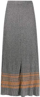 Sandro Paris shimmer pleated midi skirt