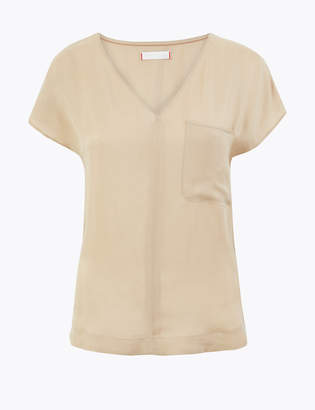 Marks and Spencer Cupro V-Neck Cap Sleeve Shell Top
