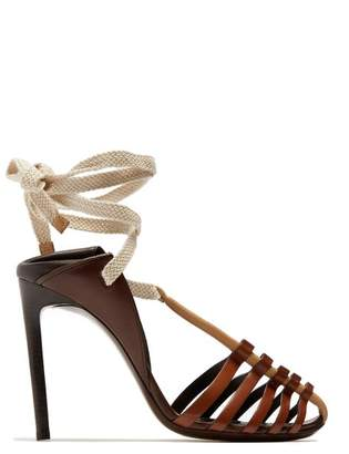 Saint Laurent Majorelle & Mansour Leather Sandals - Womens - Light Brown