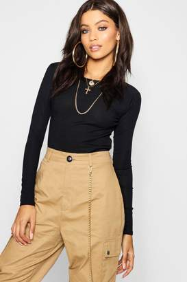 boohoo Rib Round Neck Long Sleeve Top
