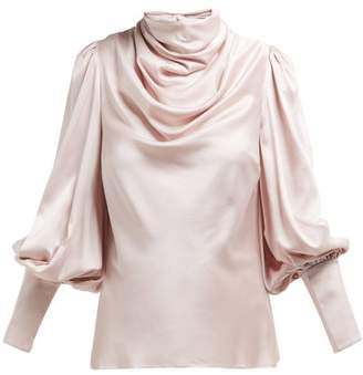 Zimmermann Ninety Six Cowl Neck Silk Blend Satin Blouse - Womens - Pink