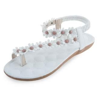 0ca7dbf77592 Bohemia Perfectii Flower Elastic Band Women Flat Flip-Flop Sandals