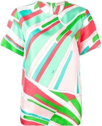 Emilio Pucci Shell Print Silk Short-Sleeved Top