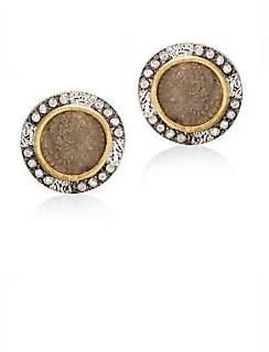 Coomi Silver Silver Women's Coin Diamond, 20K Yellow Gold& Sterling Silver Stud Earrings