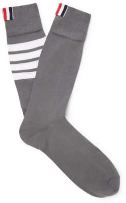 Thom Browne Striped Cotton-Blend Socks - Men - Gray