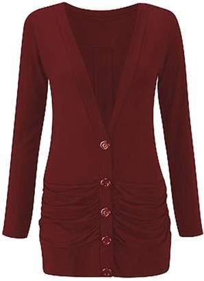 JanisRamone Womnens Plain Long Sleeve V Neck Button Up Pocket Boyfriend Cardigan Shrug Top