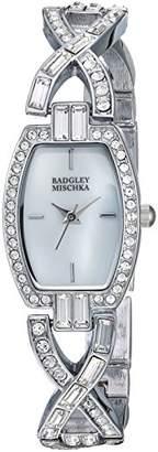 Badgley Mischka Women's BA/1379MPSV Swarovski Crystal Accented -Tone Bangle Watch