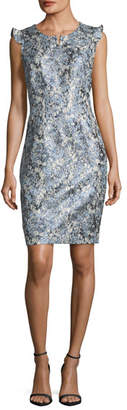Elie Tahari Stefana Shimmery Jacquard Sheath Dress