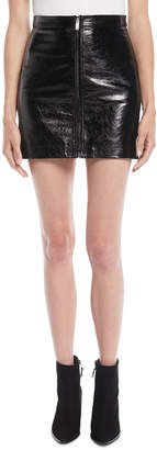 Valentino Crackled Leather Zip-Front Mini Skirt