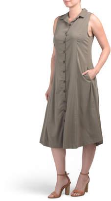 Sleeveless Princess Seam Midi Shirt Dress