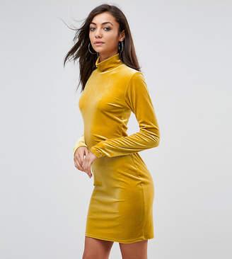 Glamorous Tall Bodycon Dress With High Neck In Velvet