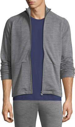 Ermenegildo Zegna Heathered Wool Zip-Front Sweater