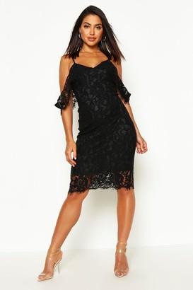 boohoo Jess Lace Open Shoulder Midi Dress $44 thestylecure.com