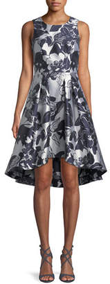 Shoshanna Coraline Fit-&-Flare Dress in Metallic Floral Print