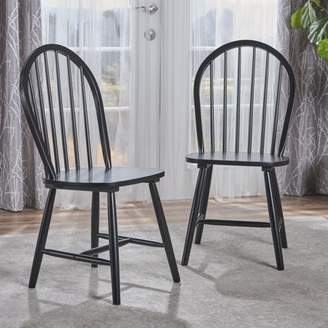 Noble House Conrad Farmhouse Cottage High Back Spindled Rubberwood Dining Chairs, Set of 2, Black