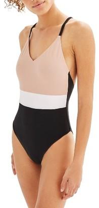 Women's Topshop Colorblock One-Piece Swimsuit $50 thestylecure.com