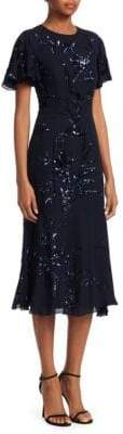 Ahluwalia Ahluwalia Women's Embroidered Silk Flutter-Sleeve Dress - Midnight - Size 4