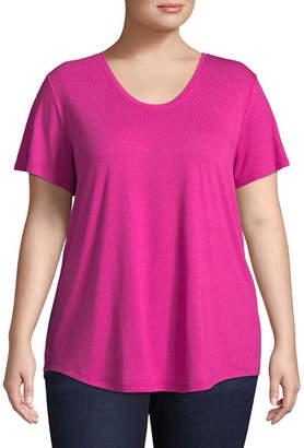 Boutique + + Short Sleeve Scoop Neck T-Shirt - Plus