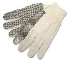 R3 Safety Mcr Safety General Purpose Cotton Canvas Gloves - Dotted - White - Cotton, Canvas - 12/pack (crw8808)