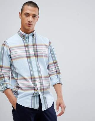 Polo Ralph Lauren Madras Check Button-Down Shirt With Player Logo In Sky Blue