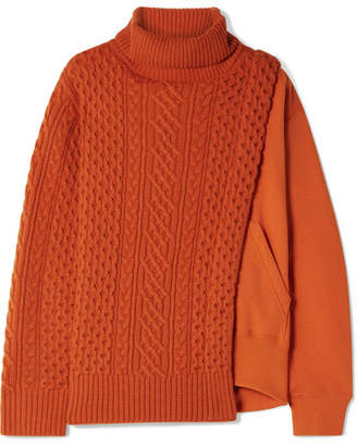Sacai Layered Wool And French Cotton-terry Turtleneck Sweater - Orange