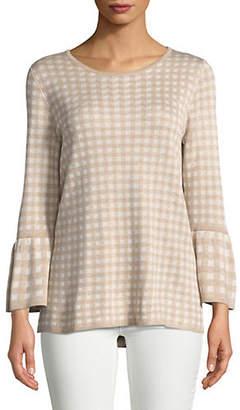 Calvin Klein Gingham Bell-Sleeve Sweater
