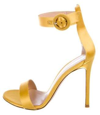 Gianvito Rossi Satin Ankle Wrap Sandals