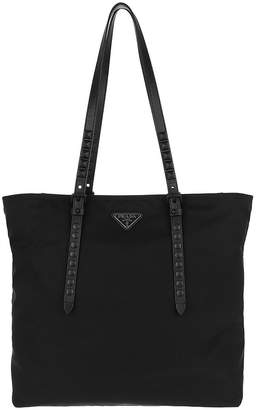 Prada Studded Black Nylon Tote Bag
