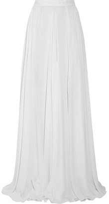 Fluted Silk-georgette Maxi Skirt - Off-white