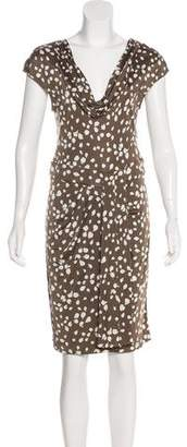 Christian Dior Draped Leaf Print Dress