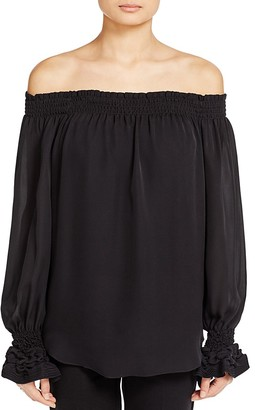 Kobi Halperin London Off-The-Shoulder Silk Blouse $368 thestylecure.com