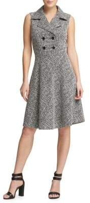 Donna Karan Tweed Double Breasted Fit-&-Flare Dress