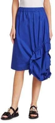Marni Side Ruche Poplin Skirt