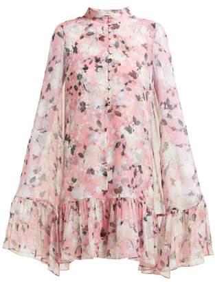 Erdem Constantine Floral Print Silk Chiffon Cape Dress - Womens - Pink Print