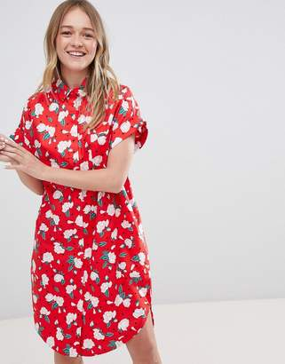 Monki Floral Polka Dot Shirt Dress
