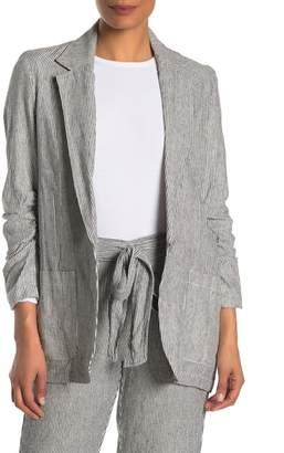 Max Studio Striped Linen Blend Ruched Sleeve Blazer