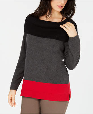 Karen Scott Cotton Colorblocked Cowl-Neck Sweater
