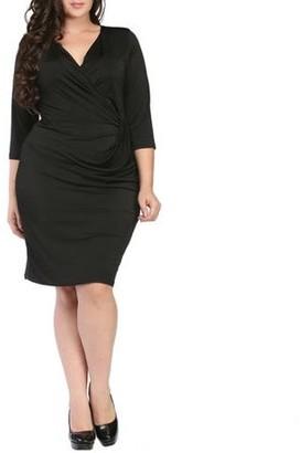 24/7 Comfort Apparel Women's Plus Size 3/4 Sleeve Wrap Dress