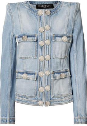 Balmain Button-embellished Distressed Denim Jacket - Blue