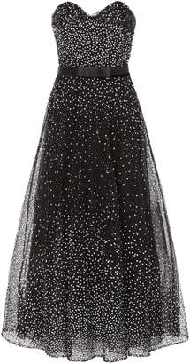 Marchesa Strapless Sequined Tulle Midi Dress Size: 4