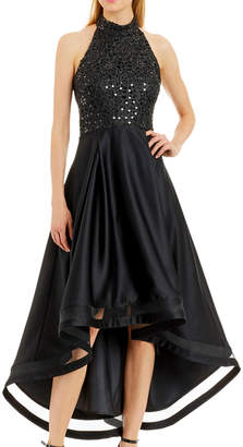 Nicole Miller New York High-Low Cocktail Dress with Sequin Bodice