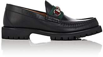 Gucci Men's Web-Striped Horse-Bit Leather Loafers - Black