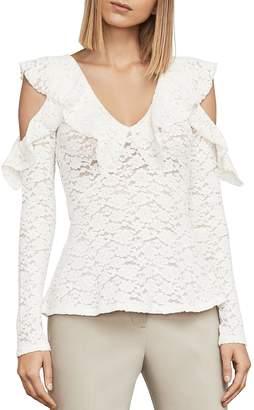 BCBGMAXAZRIA Astril Cold-Shoulder Lace Top