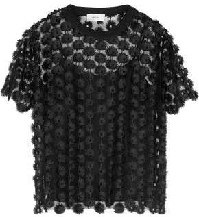 Carven Embroidered Tulle Top