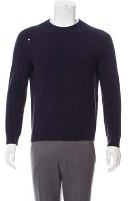 Saint Laurent Distressed Wool-Cashmere Sweater navy Distressed Wool-Cashmere Sweater